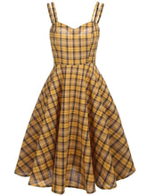 Load image into Gallery viewer, 1950S Yellow Spaghetti Strap Swing Dress With Cape