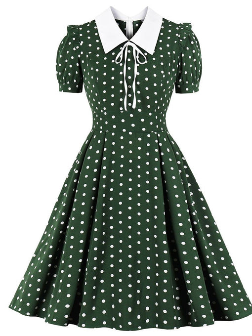 1950s Dark Green Polka Dots Puff Sleeve Vintage Dress