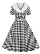Load image into Gallery viewer, Sailor Collar 1950S Vintage plaid Swing Dress