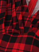 Load image into Gallery viewer, Red Scottish Plaid Print V Neck Vintage Dress