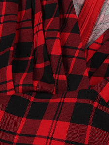 Red Scottish Plaid Print V Neck Vintage Dress