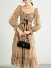 Load image into Gallery viewer, Polka Dots Lace Classic Chiffon Dress Long Sleeve 1950S Dress