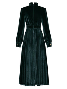 Emeral Green Long Sleeve 1950S Velvet Vintage Dress