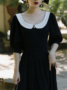 Plus Size Peter Pan Collar Vintage Backless  Puff Sleeve Little Black Dress