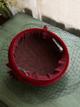 Load image into Gallery viewer, Wine Red Flower Tulle Vintage Velvet 1950S Hat