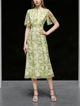 Load image into Gallery viewer, Green Floral Short Sleeve Vintage Chiffon Dress