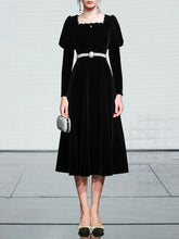 Load image into Gallery viewer, Black Square Collar Puff Long Sleeve  Vintage Velvet Dress