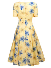 Load image into Gallery viewer, The Marvelous Mrs.Maisel Same Style Yellow Floral Swing 50S Dress With Lace Belt