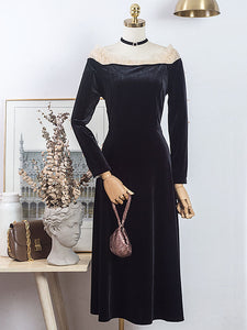 Black Ballet Cold Shoulder Bow Sleeve Vintage Little Black Dress