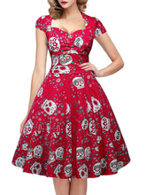 Load image into Gallery viewer, Halloween Red Skull Printed V Neck Vintage Dress