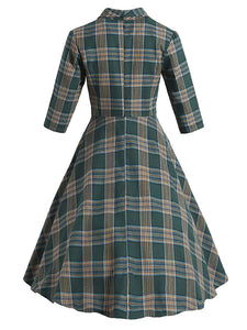 Plaid 3/4 Sleeve 1950S Vintage Dress With Button