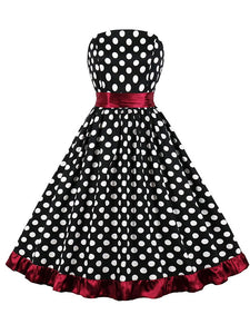 Polka Dots 1950S Vintage Sleeveless Swing Dress