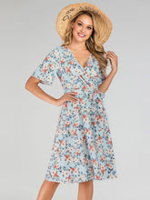 Load image into Gallery viewer, Blue V Neck Floral  A Line Bohemia Dress