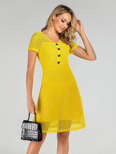 Load image into Gallery viewer, Yellow 1950s  V Neck Mesh  A Line Vintage Dress