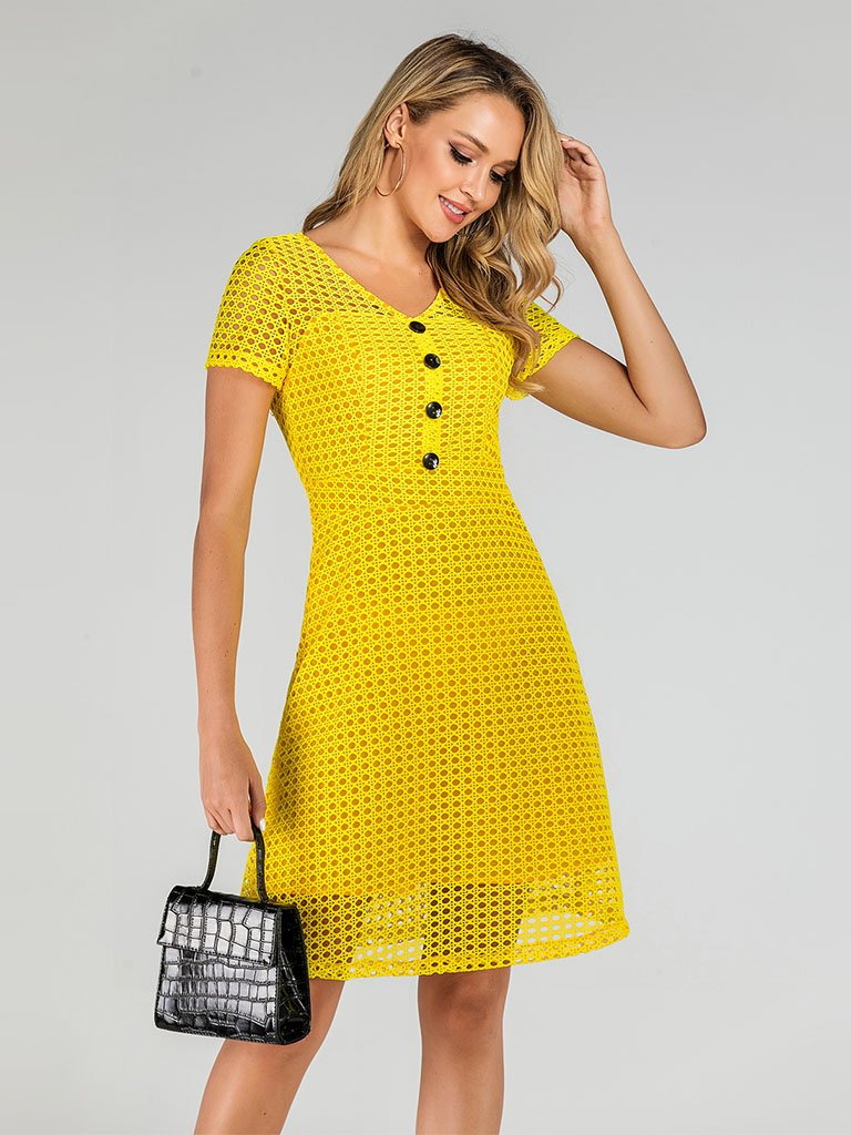 Yellow 1950s  V Neck Mesh  A Line Vintage Dress