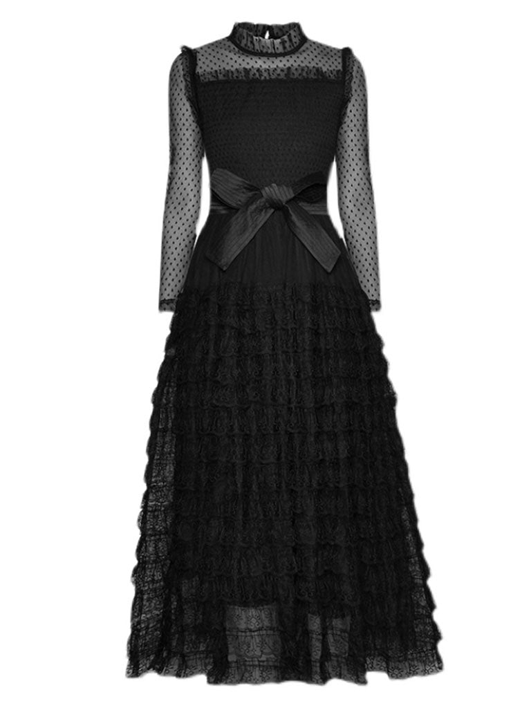 Black Lace Ruffles Tulle Long Sleeve 1950S Party Maxi Dress
