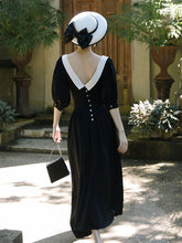 Load image into Gallery viewer, Peter Pan Collar Vintage Backless  Puff Sleeve Little Black Dress