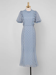 Blue Polka Dots Puff Sleeve Vintage Chiffon Dress