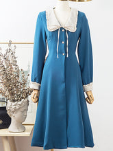 Load image into Gallery viewer, Lake Blue Chelsea Collar Vintage Long Sleeve Fall 50S Dress