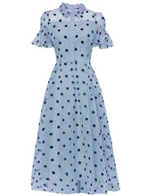 Load image into Gallery viewer, Blue Polka Dots Classic Organza1950S Swing Dress