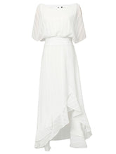 Load image into Gallery viewer, White Chiffon Vintage Maxi Dress With High low Hem