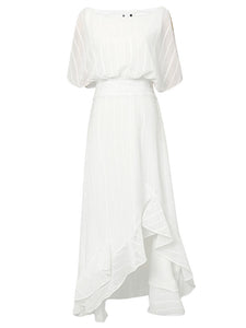 White Chiffon Vintage Maxi Dress With High low Hem