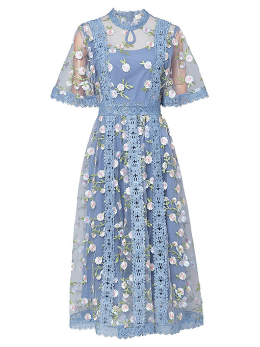 Blue Embroidery Daisy Lace Neck Maxi Dress