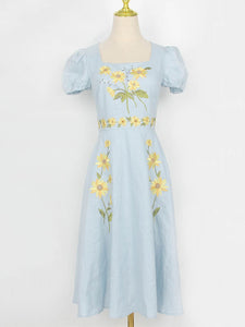 Blue Sunflowers Embroidered 1950S Dress