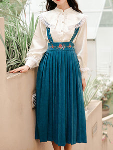 Embroidered Peter Pan Fall Long Sleeve Vintage Dress Set