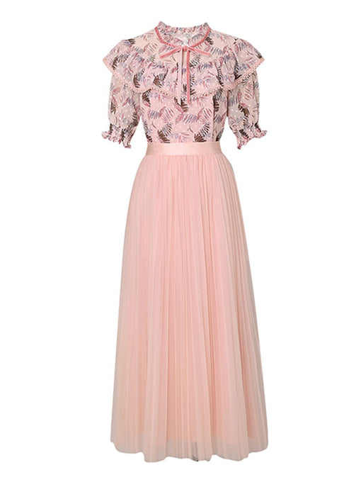 Ruffles Floral Top Romantic Vintage Set With Tulle Skirt