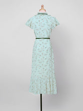 Load image into Gallery viewer, Light Green Butterfly Sleeve Ruffles Floral Vintage Mermaid Dress