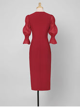 Load image into Gallery viewer, 1950S Wine Red V Neck Flower Lantern Sleeve Pencil Dress