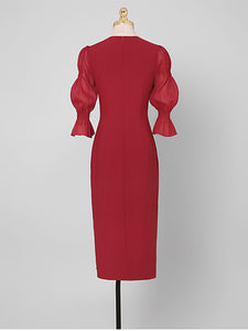 1950S Wine Red V Neck Flower Lantern Sleeve Pencil Dress