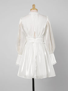 1960S White Puff Long Sleeve Organza Dress