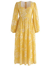 Load image into Gallery viewer, Yellow Heart Collar Vintage Embroidery Maxi Dress