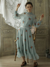 Load image into Gallery viewer, Embroidered Chiffon Fall Long Sleeve Vintage Set Dress