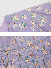 Load image into Gallery viewer, Purple Floral Butterfly Sleeve V Neck Summer Dress