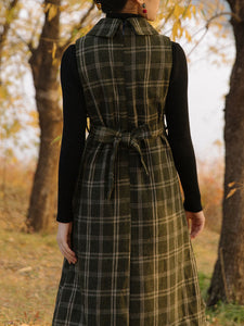 1950S Plaid Long Sleeve Vintage Cape Dress Set