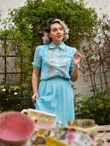 Blue Alice in Wonderland Same Style Embroidered 1950S Vintage Dress Set