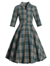Load image into Gallery viewer, Plaid 3/4 Sleeve 1950S Vintage Dress With Button