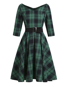 Green Plaid 1950S Swing Vintage Dress With Belt