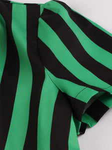 Green and Black Stripe With Pockets 50S Halloween Dress