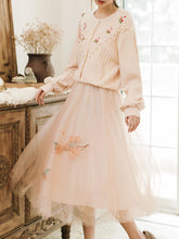 Load image into Gallery viewer, Apricot Long Sleeve Knitted Sweater And Pink Tulle Skirt Vintage Set 1950S Dresses
