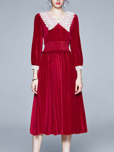 Vinatge Red Lace Long Sleeve Swing Velvet Dress