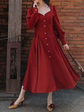 Load image into Gallery viewer, Orange Red Long Sleeve Button Fall Swing Dress