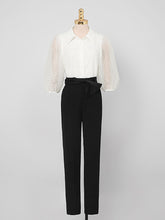 Load image into Gallery viewer, White Jacquard Puff Sleeve 1950S Vintage Pant Set