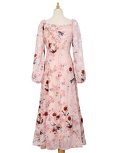 Load image into Gallery viewer, Floral Flocking Rose Chiffon Dress Long Sleeve Vintage Dress