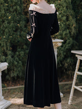 Load image into Gallery viewer, Black Ballet Cold Shoulder Bow Sleeve Vintage Little Black Dress
