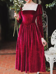Wine Red Square Lace Collar Long Sleeve Velvet Dress