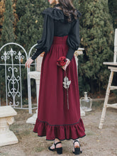 Load image into Gallery viewer, Black Lace Petal Blouse With Crimson Ruffled Skirt Set Edwardain Vinatge Dress Set